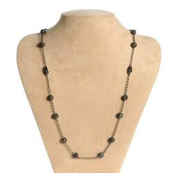 14.7ct Pave Black Diamond Beads 925 Sterling Silver Chain Necklace For Women