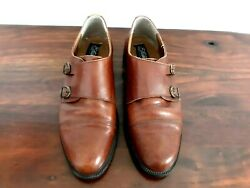 Menand039s Shoe Italian Leather Fratelli Rossetti Brown Monk Strap Oxford Dress 10.5m