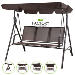 Outdoor Patio Swing Chair Lounge 3-person Seats Canopy Poolside Hammock Brown