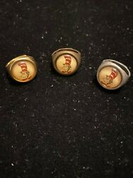Vintage 1960's  Adjustable Gumball Machine Cat In The Hat Ring Set Of 3