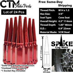 24 Pcs Chevy 4.5and039and039 Tall Red 14x1.5 Wheel Spike Lug Nuts +key For Chevy Models