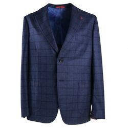 Nwt 4295 Isaia Slate Blue Super 170s Flannel Wool-cashmere Wool Suit 44 R