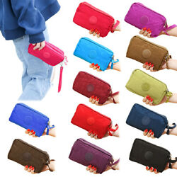Women's Phone Bag Wallet Three- Zipper Purse Plus Size Coin Purse Cas $4.13