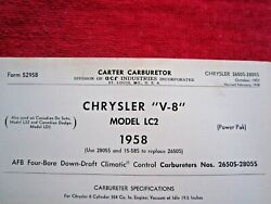 1958 Chrysler Lc2 Carter Afb 4bbl, 2650s And 2805s Carburetor Spec And Info Sheet