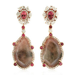 16.7ct Natural Geode Dangle Earrings 18k Rose Gold Jewelry