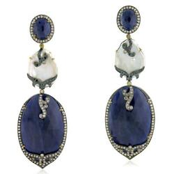 18k Yellow Gold Silver Natural Pearl,diamond And Blue Sapphire Dangle Earrings