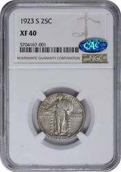 1923-s Standing Liberty Silver Quarter Ef40 Ngc Cac