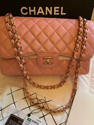 CHANEL CLASSIC FLAP CAVIAR Leather JUMBO IRIDESCENT PiNK 19S GHW
