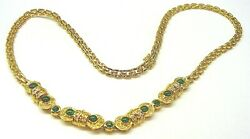 Priced To Sell Diamond And Emerald Necklace 18 Karat Gold 17.50 Inches Long