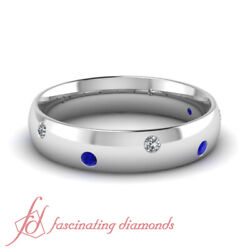 1/4 Carat Round Diamond And Sapphire Classic Dome Comfort Fit Mens Wedding Band