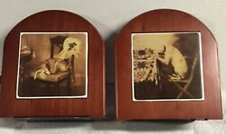 Charming Vintage Artwork Greyhound Whippet Ig Rosewood Bookends