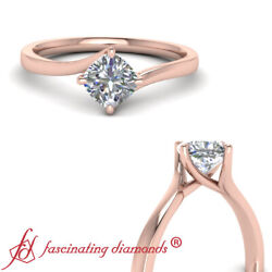 Half Carat Cushion Cut Diamond Twisted Solitaire Engagement Ring In Rose Gold