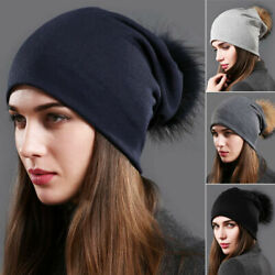 Women Ladies Knit Autumn Winter Warm Raccoon Fur Mink PomPom Hat Cap Beanie US