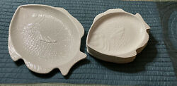 Set 9 Usa California Whittier Pottery Fish Embossed Scales Platter Plates