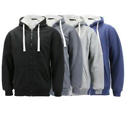 Menand039s Heavyweight Thermal Zip Up Hoodie Warm Sherpa Lined Sweater Jacket