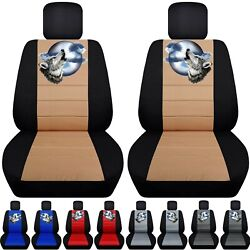 Front Set Car Seat Covers Fits 2005-2020 Toyota Tacoma With Howling Wolf Design