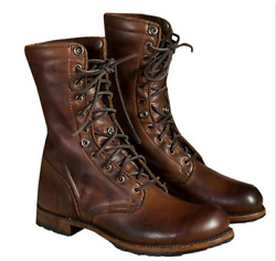 Mens Lace Up Winter Vintage Military Boots Comboy Flat Pu Punk Motorcycle Shoes