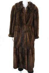 Designer Womens Mink Full Length Tiered Winter Weather Coat Brown Fur Size M