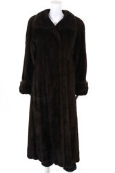 Designer Womens Classic Full Length Mink Winter Coat Brown Fur Size Medium