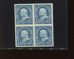 247p4 Franklin Plate Proof On Card Block Of 4 Stamps Stock 247-p1