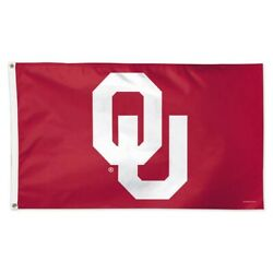 Oklahoma Sooners Ou Red Background 3'x5' Deluxe Flag Brand New Wincraft