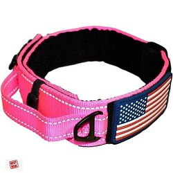 Dog Tactical K9 Collar Pink With Control Handle Military Quick Release Buckle