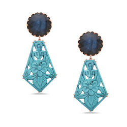 Natural Turquoise Drop/dangle Earrings 18k Rose Gold Jewelry