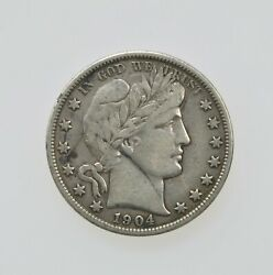 United States 1904-s Barber Head Silver Half Dollar Fifty Cent Coin F Condition