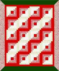 NEW 64x53 Red White Green Mitered Border XMAS ~Throw PIECED Log Cabin Quilt Top