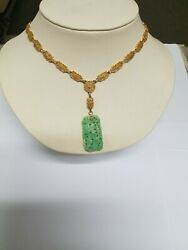 Antique Solid 14 K Gold Filigree Necklace With Green/white Jade Charm