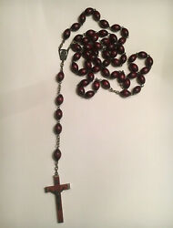 ✞ Antique Rosary Brown Wood Extra Large Made In Italy Family Rosary ✞