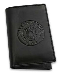 Men's Wallet Black Leather US Navy Trifold RFID Protected Gift Boxed
