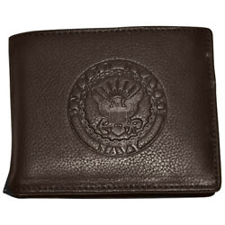 Men's Brown Leather US Navy Bifold Wallet RFID Protected Gift Boxed