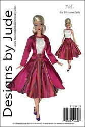Fall Dress And Coat Doll Clothes Sewing Pattern For Silkstone Barbie Dolls