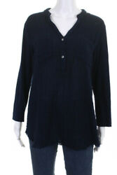 Michael Stars Womens Cotton Long Sleeve Blouse Top Navy Blue Size Large