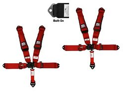 Simpson 3x3 Latch And Link Harness Seat Belts Bolt In Red W/black Hardware No Pads