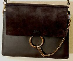Designer Black Chloe Faye leather shoulder bag with brass fittings $875.00