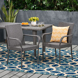 Bannon Outdoor Contemporary Wicker Dining Chair Set Of 2