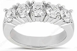 5 Round Diamond Wedding Ring 14k Gold Band 1.10 Carat Total F Color Vs/si1
