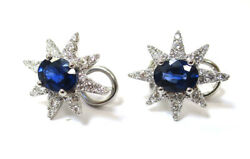 Natural Perfectly Matched Sapphire With Star Diamond Platinum Earrings 3.90 Ct