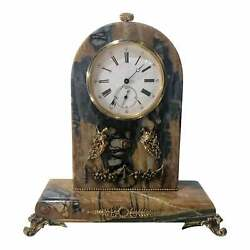 Antique Russian Gold Ruby And Marble Swiss Clock