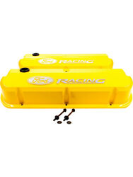 Proform Ford W Racing Cast Valve Cover Yellow Raised Emblems Sbf 302-144