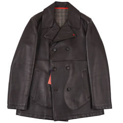 Nwt 4250 Isaia Dark Brown Leather Pea Coat With Wool Lining Xl Eu 54