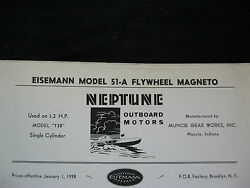 1938 Eisemann 51-a Neptune Outboard Motor Flywheel Magneto Parts List And Diagram