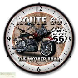 Route 66 Motorcycle Bike The Mother Road Wall Clock 14 Led Lighted Back Usa New
