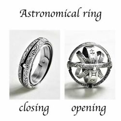 Silver Astronomical Ring For Men Women Metal Ball Creative Finger Ring Jewelry