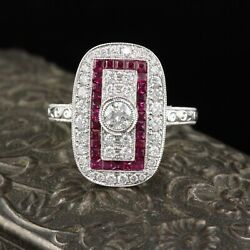 Art Deco Style 18k White Gold Ruby And Diamond Ring