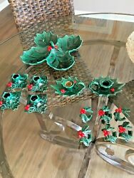 Vintage Lefton 4 Holly Leaf Berry Christmas Snack Candy Nut Dish Tray And More