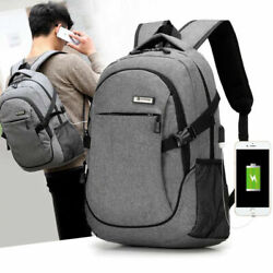 Anti-theft Mens Laptop Backpack Travel School Bag Rucksack With USB Charger Port $13.97