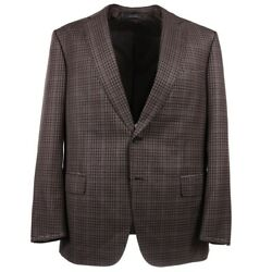 Nwt 4995 Brioni 'colosseo' Brown-blue Layered Check Wool Sport Coat 44 R